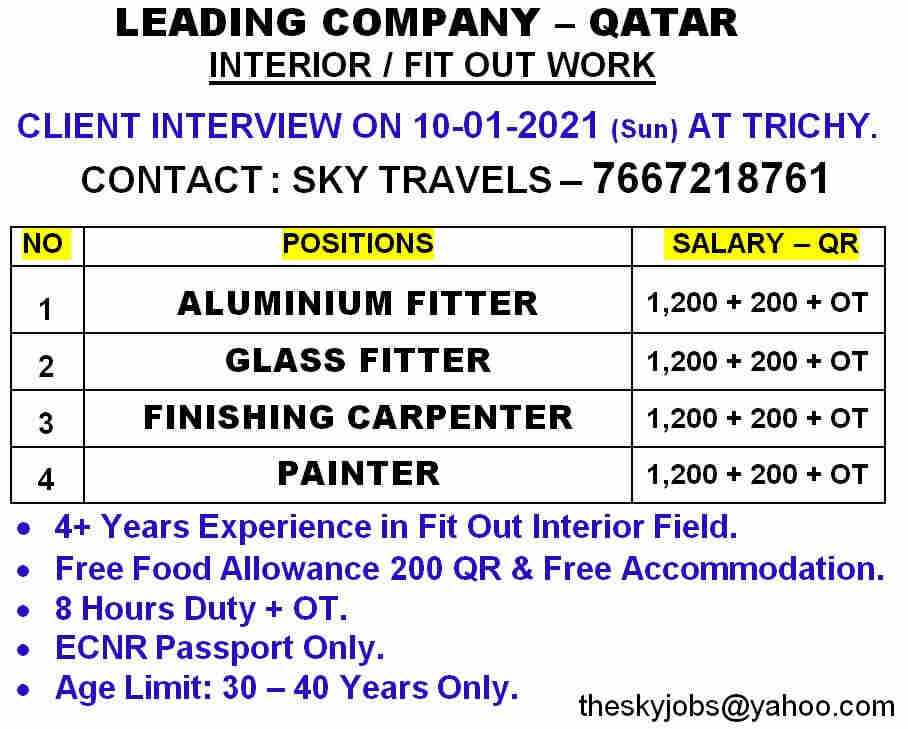 Urgent requirement for Qatar | Interior fit-out work – 28226 Salary