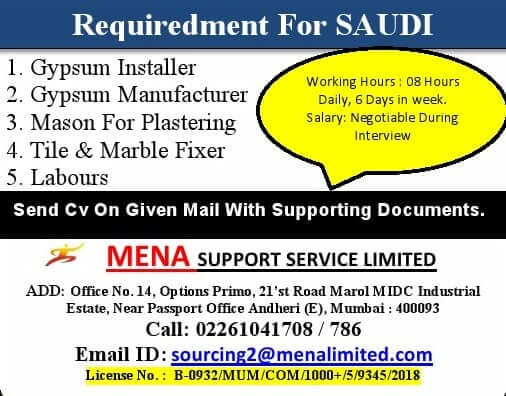 Urgent requirement for a Leading Company in Saudi Arabia