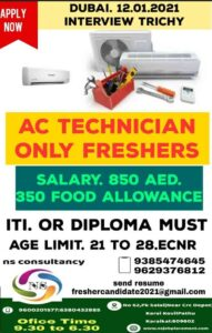 Ac technician jobs | Urgent requirement for Dubai – Fresher candidates