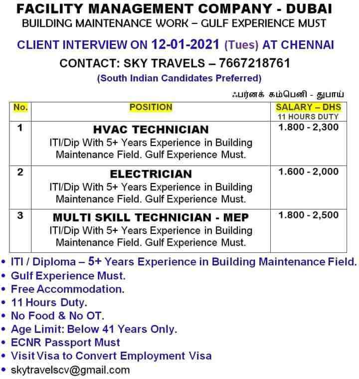 Gulf Job Vacancies across India - 09 January 2021