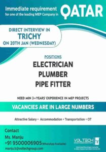 Gulf jobs large job vacancies for Qatar – Electrician, Plumber, Pipefitter