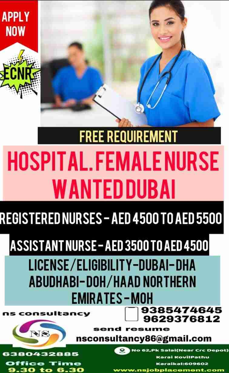 Urgent requirement of Female Nurse in Dubai – Salary 90000/-