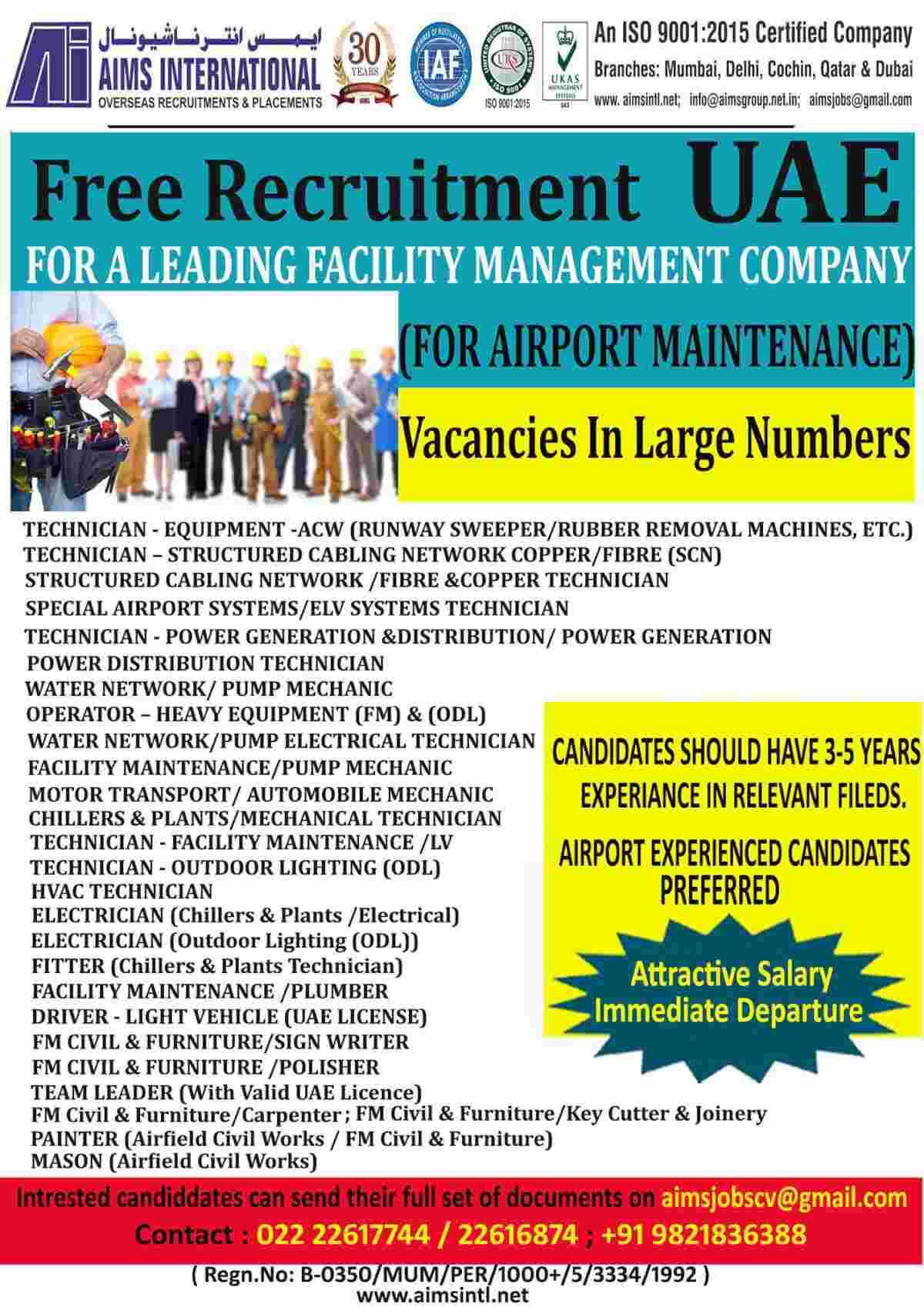 Dubai Airport jobs – Free recruitment for Airport maintenance in UAE