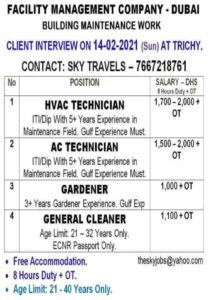 Dubai job vacancy – Urgently required for a leading facility management co.