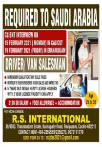 Gulf Jobs – Requirement for Saudi Arabia for Driver / Van Salesman