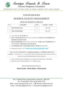 Gulf job vacancy – Duserva facility management co. Dubai (Semi Govt)