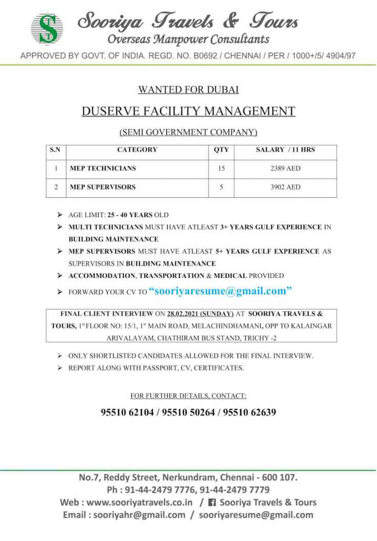 Gulf job vacancy – Duserva facility management co. Dubai (Semi Govt)