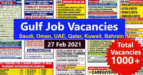 Assignment Abroad Times | Gulf job vacancies across India – 1000+ posts