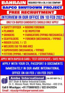 Gulf jobs BAPCO | Required for Oil & Gas co. Bahrain – Free recruitment