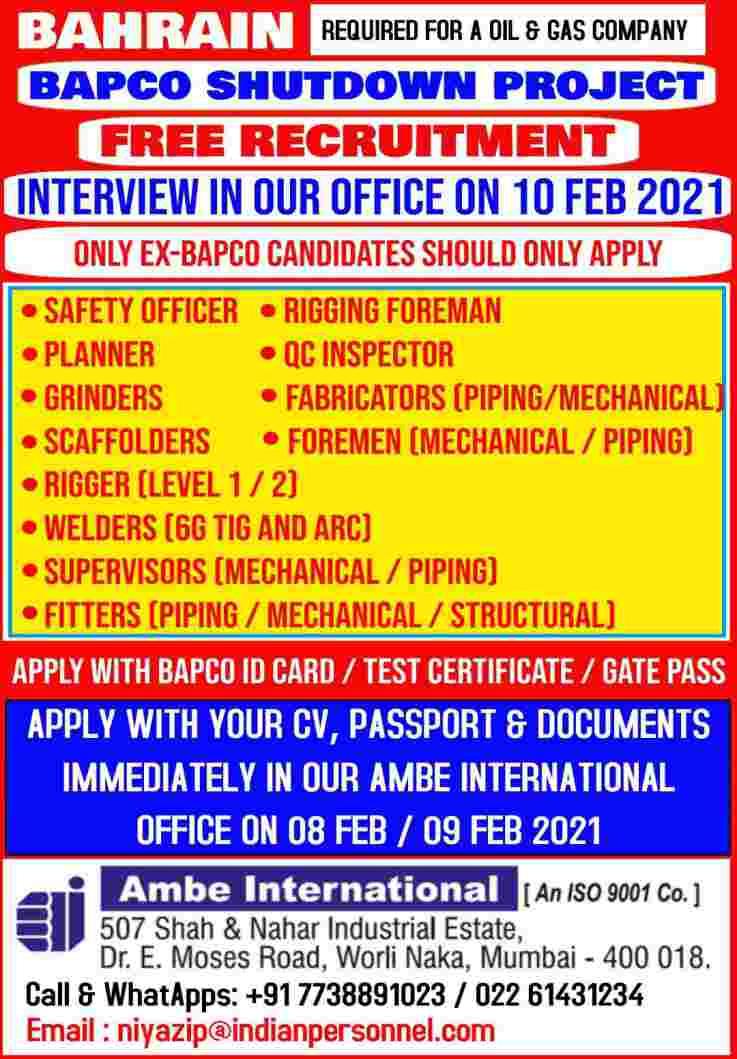 Gulf jobs BAPCO   Required for Oil & Gas co. Bahrain – Free recruitment