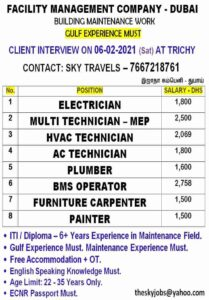 Gulf jobs Dubai | Building maintenance work – ITI/Diploma candidates