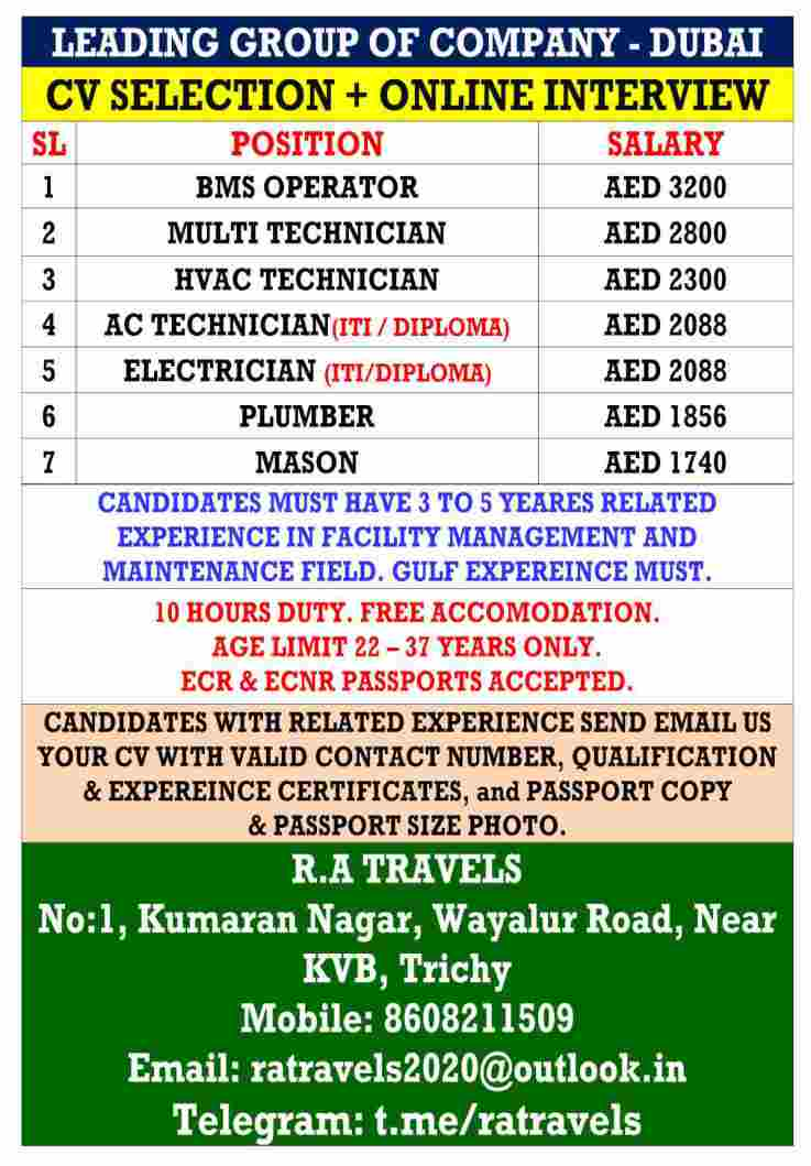 Gulf Jobs – Urgent requirement for a leading group of companies in Dubai