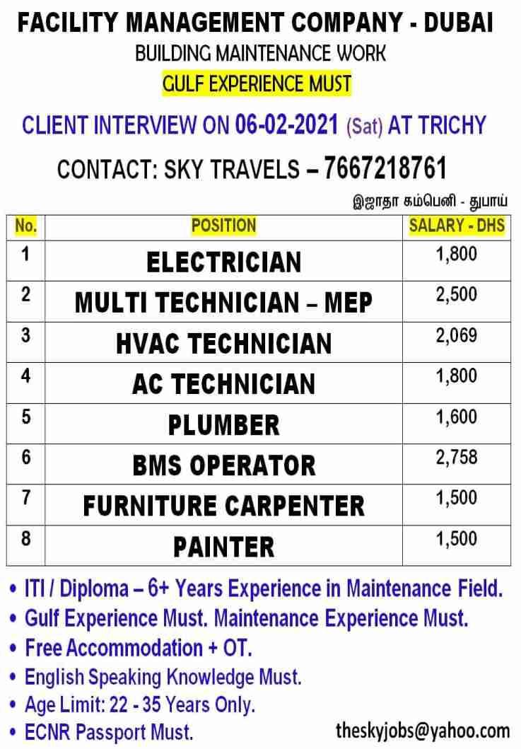 Gulf jobs Dubai | Building maintenance work – ITI/Diploma candidates