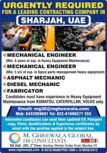 Gulf jobs Sharjah | Urgently required for a leading contracting co in UAE