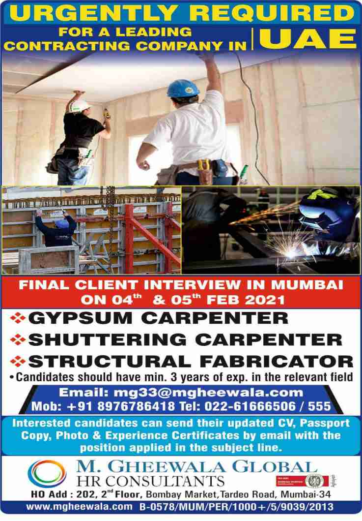 Gulf jobs UAE – Jobs for a leading contracting company in UAE