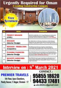 Gulf jobs – Free recruitment for Oman for a leading construction co.