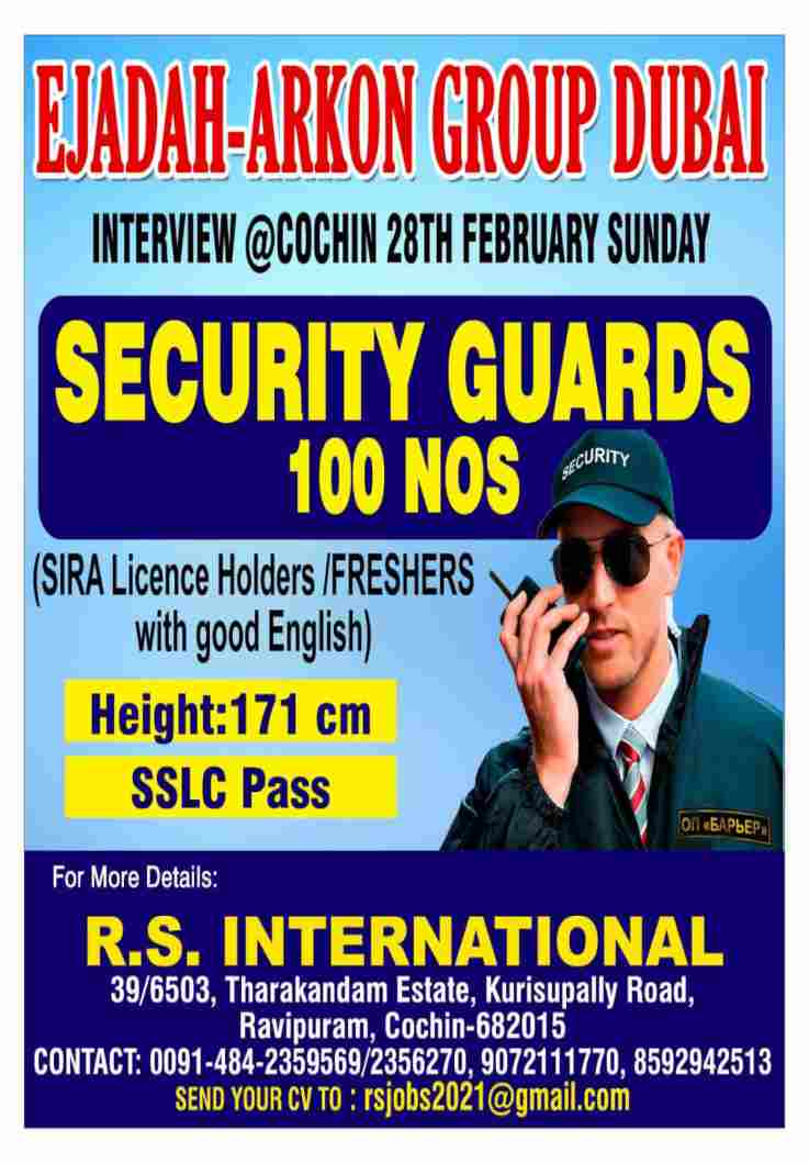 Dubai Careers – Vacancy for Security Guard in Ejadah Arkon group Dubai