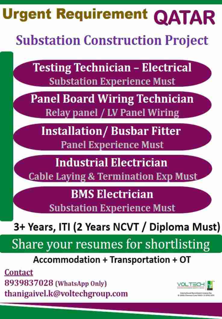 Jobs in Qatar – Substation construction project – ITI/Diploma candidates