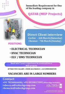 Overseas jobs Qatar – Immediate requirement for MEP project in Qatar