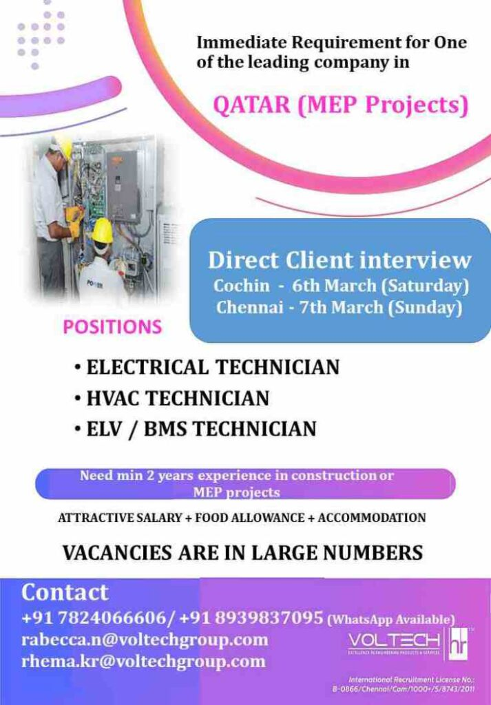Overseas jobs Qatar