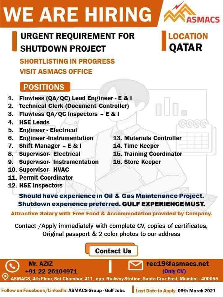 Gulf jobs – Job vacancies for Oil and Gas maintenance in Qatar