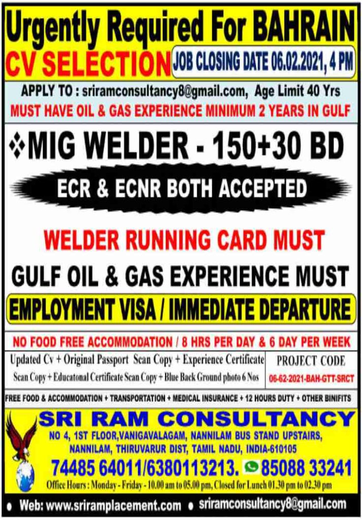Gulf job vacancy - Latest Gulf job vacancies for Indians