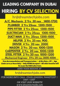 Jobs in Dubai – Pipefitter/mason/Ac/electrician/helper/driver/mech engineer