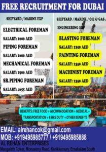Jobs in Dubai – Free recruitment for Dubai Shipyard/Marine Project
