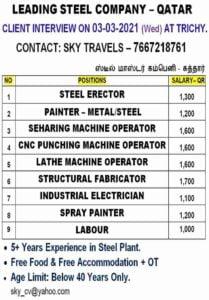 Overseas jobs – Job vacancy for a leading Steel company in Qatar