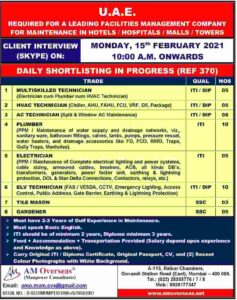 UAE job vacancy – Hiring for Hotels, Hospitals, Malls, Towers in UAE