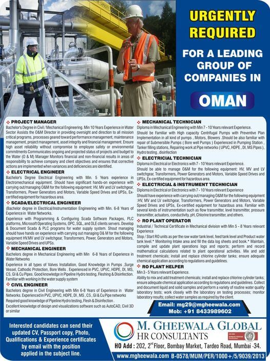 Jobs in Oman – Project Manager, Elect, Mech, Civil Engineer, Technician