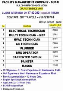 Gulf jobs | Large job vacancies in Dubai for ITI/Diploma candidates