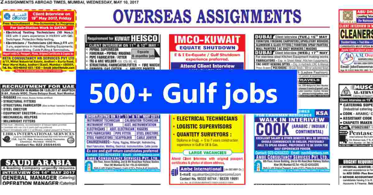 Assignment Abroad Times Today – 500+ Gulf job vacancies