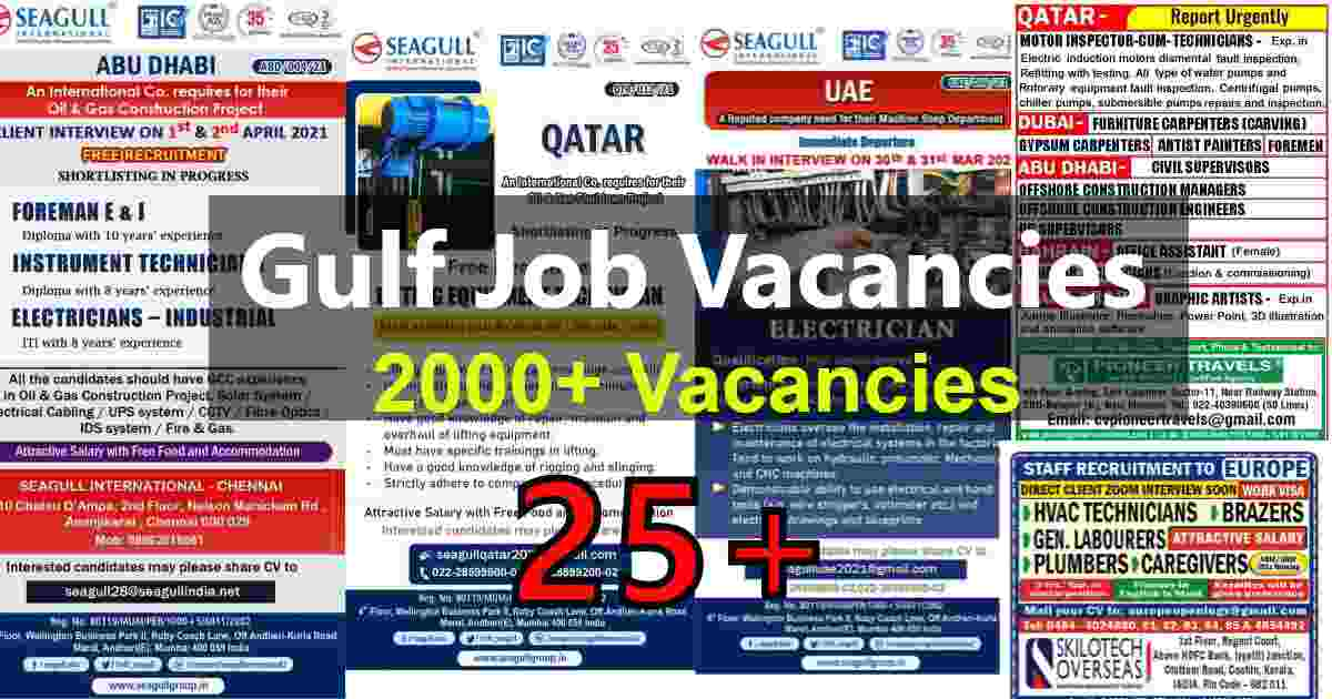 Assignment Abroad times today | Latest Gulf jobs – 2000+ vacancies