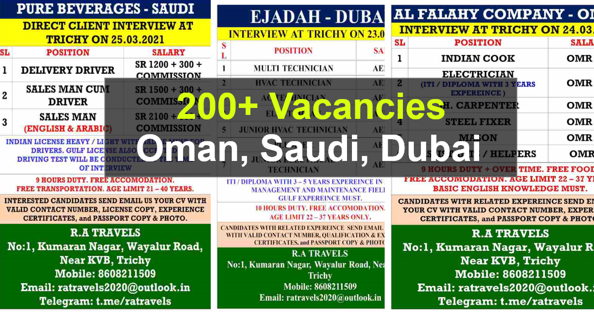 Gulf job paper – 200+ job vacancies for Dubai, Oman and Saudi Arab