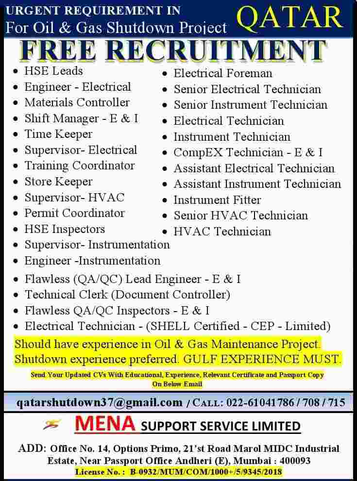 Gulf jobs 2021 – Free recruitment for Oil and Gas Shutdown project in Qatar