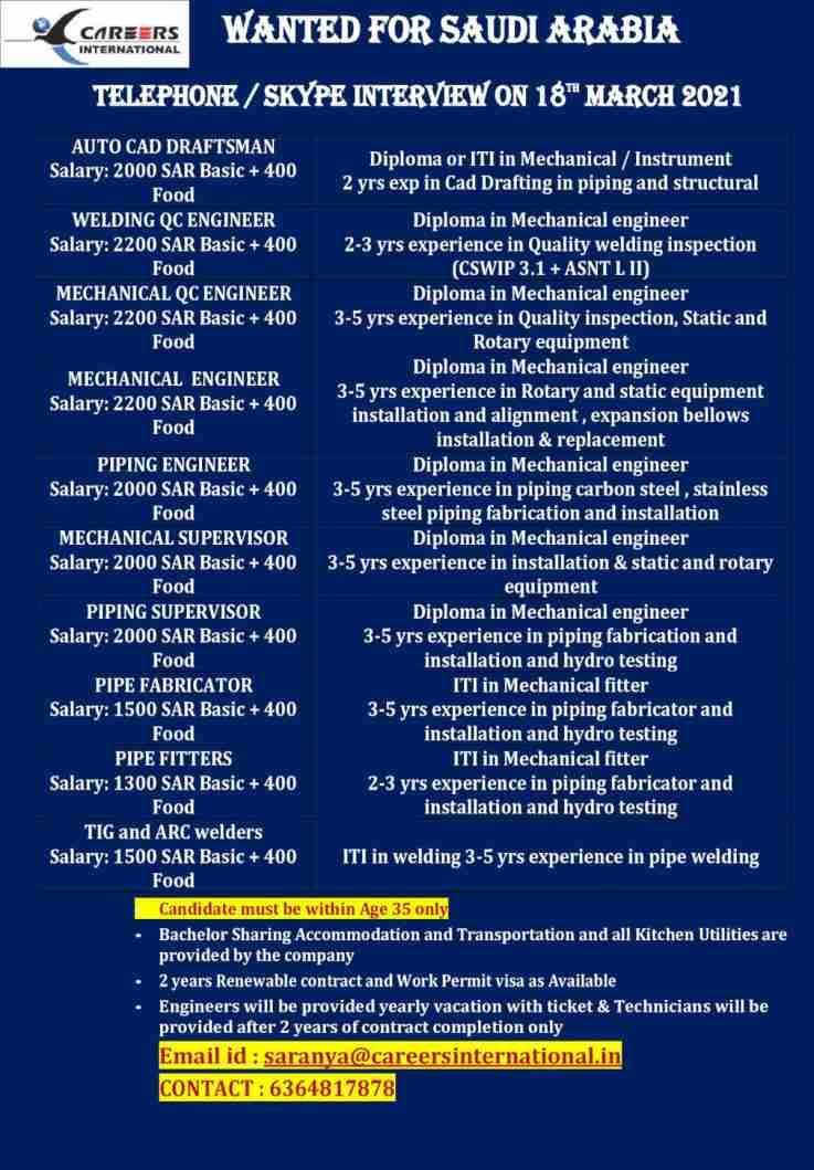Careers International Chennai – Large job vacancies for Saudi Arabia.