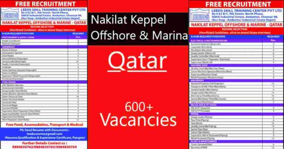 Gulf jobs | Nakilat Keppel Offshore & Marine – 600+ vacancies for Qatar