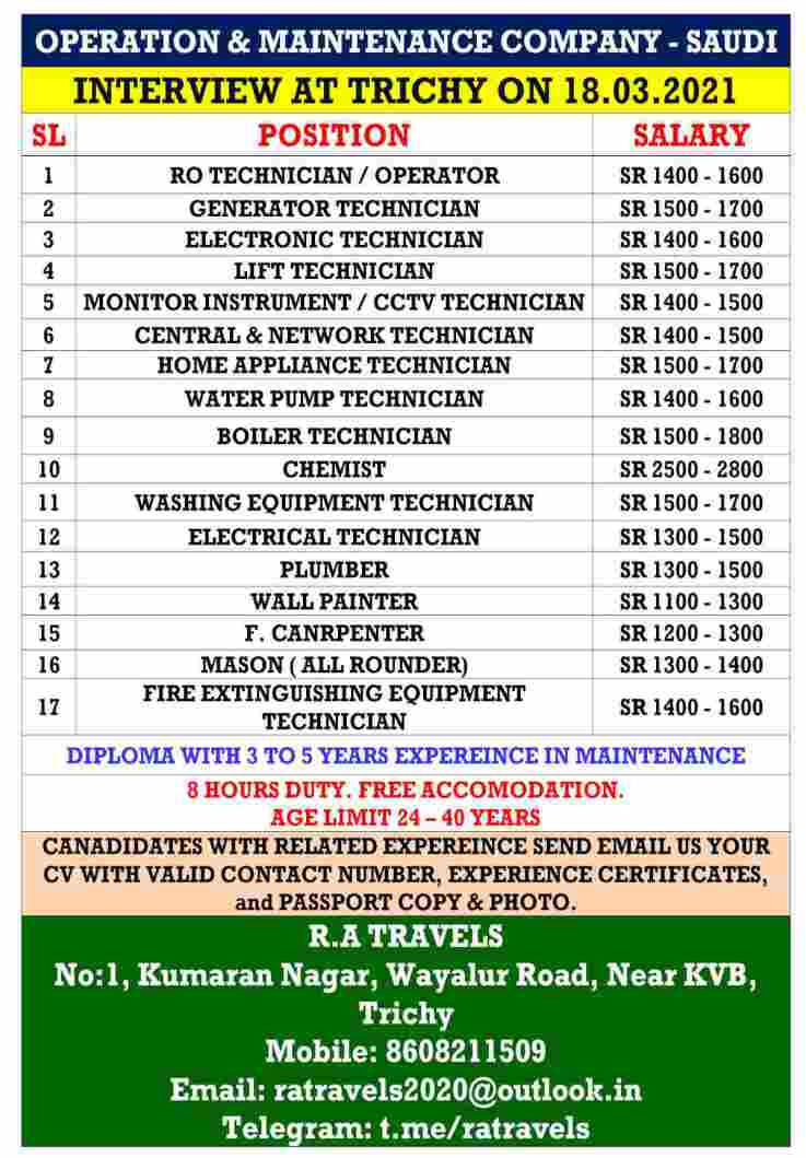 Saudi job vacancy – Vacancies for operation & maintenance company