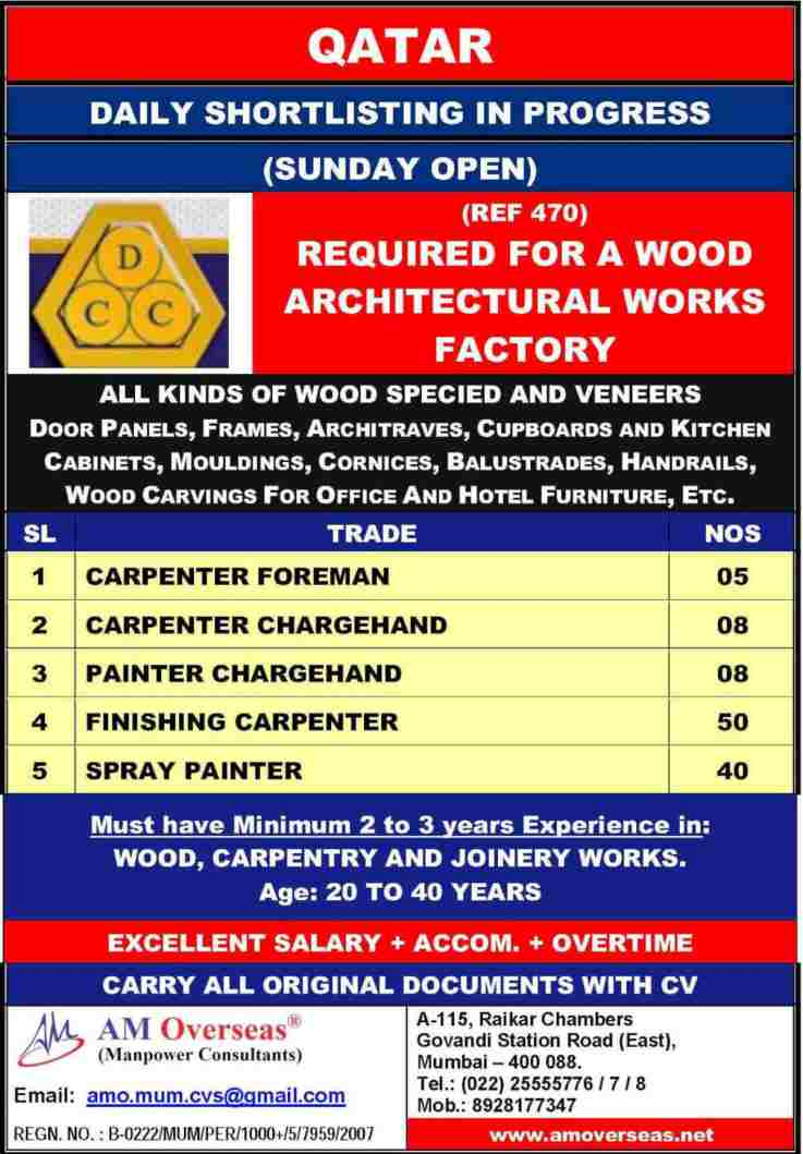 Abroad jobs – Urgent requirement for a Architectural Works Factory in Qatar