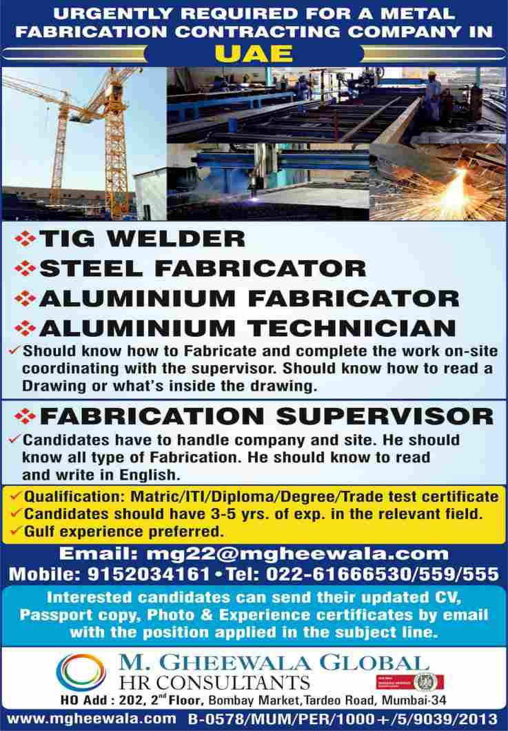 Gulf jobs   Metal fabrication co. in UAE – 10th/ITI/Diploma candidates can apply