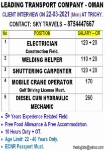 Gulf jobs Oman – Recruitment for a leading Transport Company in Oman
