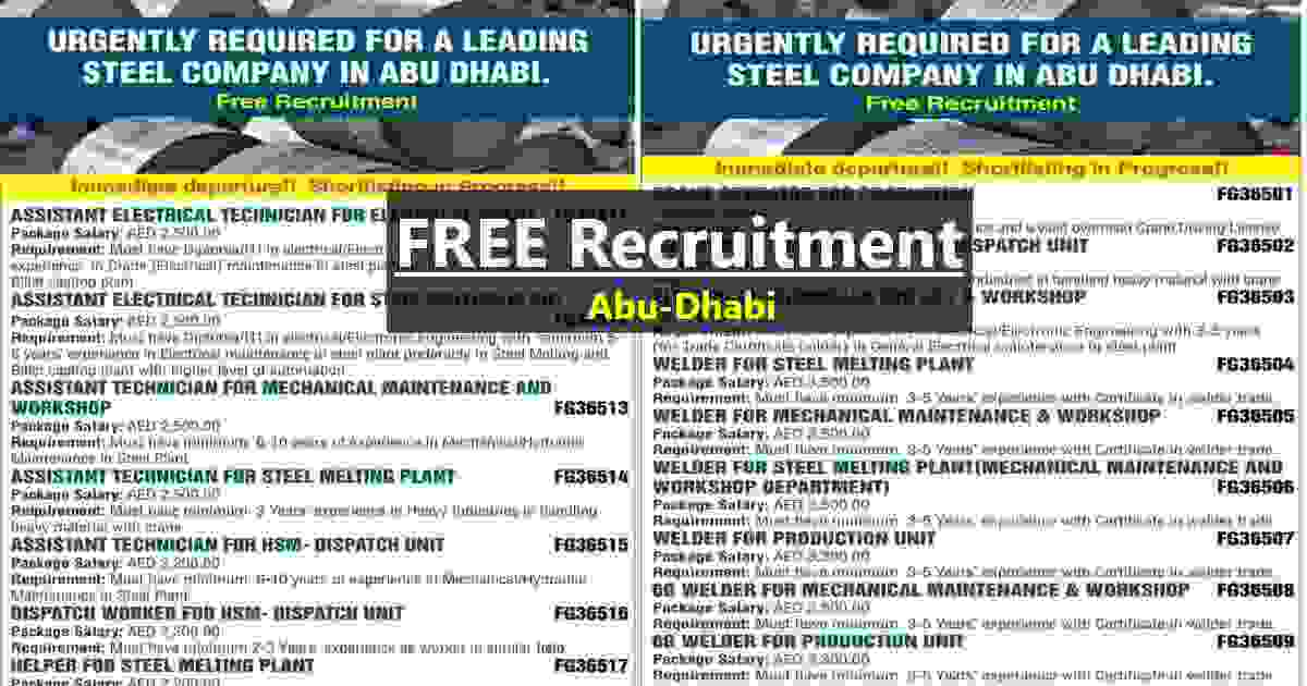 Gulf jobs – Urgent required for a leading Steel company in Abu-Dhabi