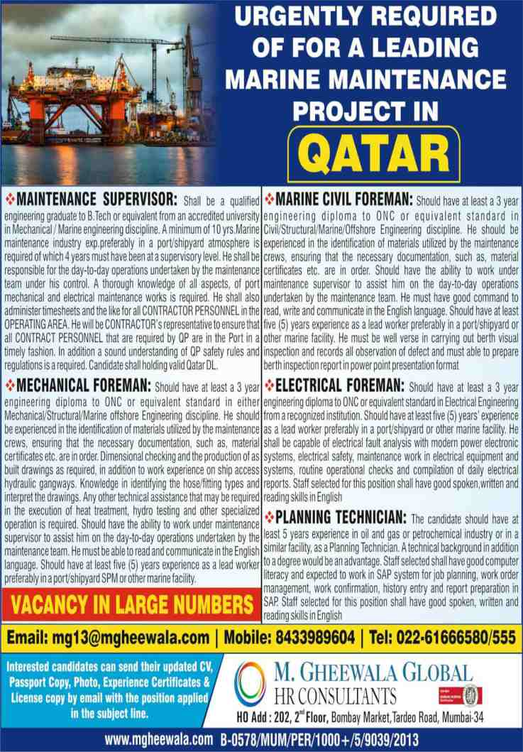Gulf jobs today – Large vacancies for a leading marine maintenance project Qatar