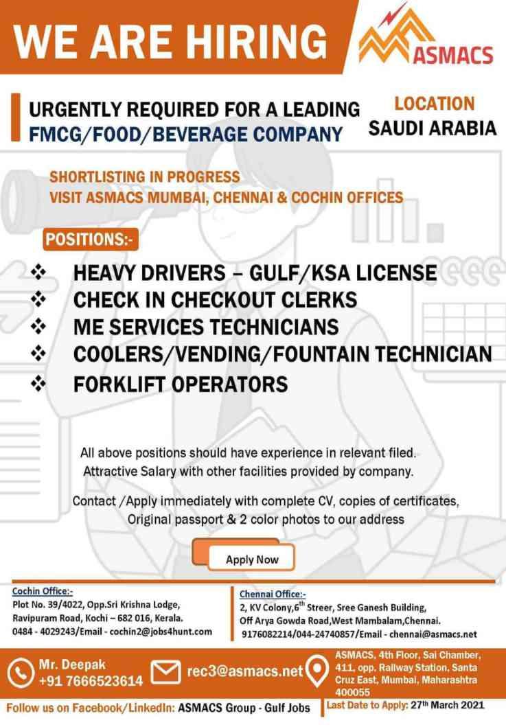 Job Vacancies for Saudi – Client interview at Chennai, Mumbai, Kochi