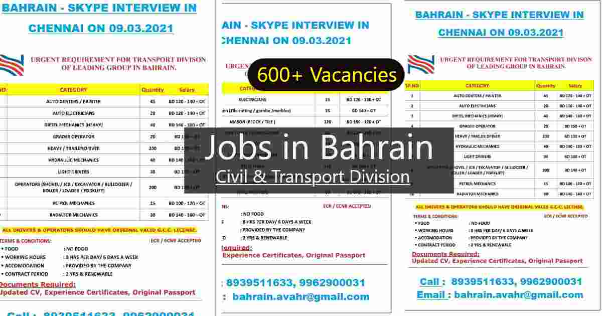 Jobs in Bahrain | Transport & Civil division – 600+ job vacancies