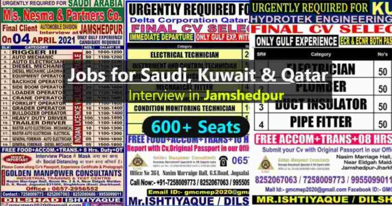 Jobs in Gulf – 600+ job vacancies for Saudi, Qatar, and Kuwait