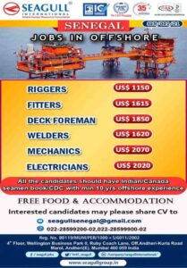 Jobs in Offshore | Urgent requirement for Senegal, Salary 83000-150000 INR