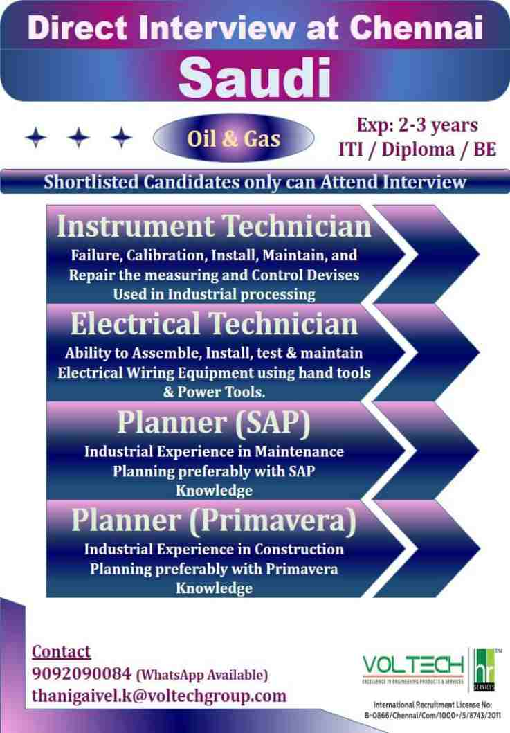 Oil and Gas jobs | Instrument / Electrical / Planner technician – Saudi Arabia