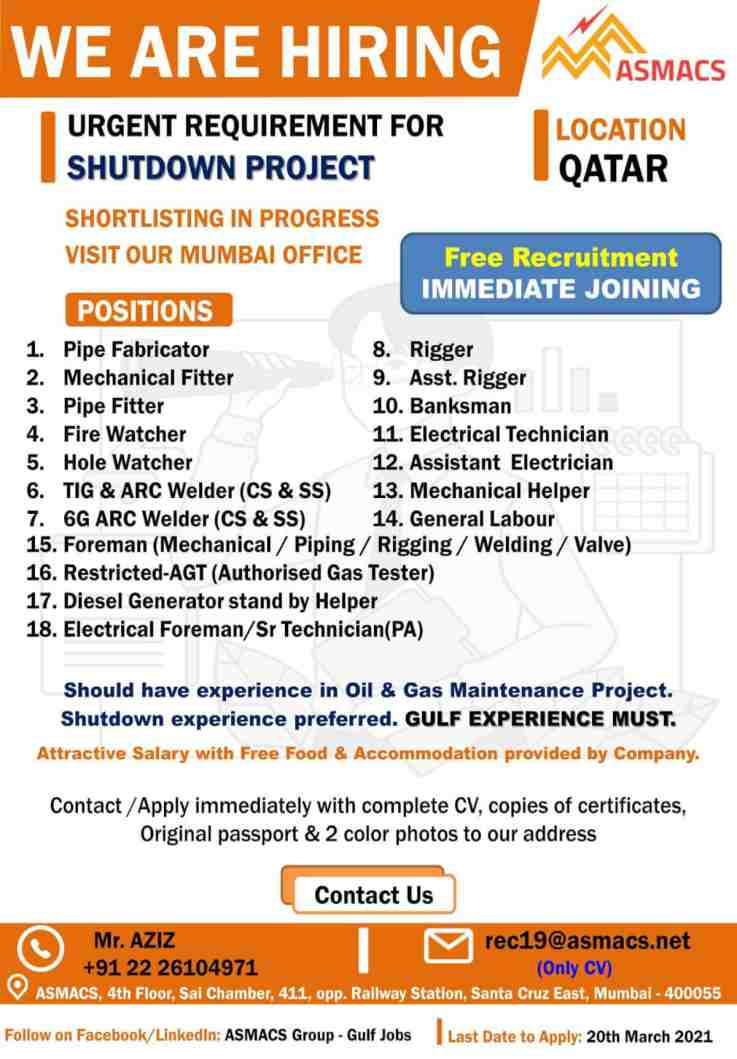 Qatar jobs – Free Recruitment for Oil & Gas shutdown project